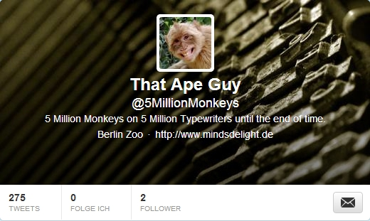 apeguy 5 Million Monkeys and 5 Million Typewriters until the end of time in your Twitter