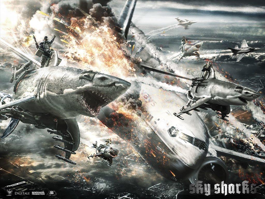 """In """"Sky Sharks"""" greifen auf fliegenden Haien reitende Nazi-Zombies Flugzeuge an (NSFW)"""