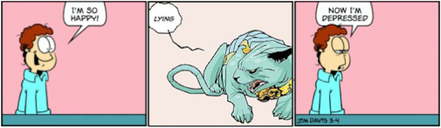 """""""Garfield"""" minus Garfield plus the Lying Cat from """"Saga"""""""