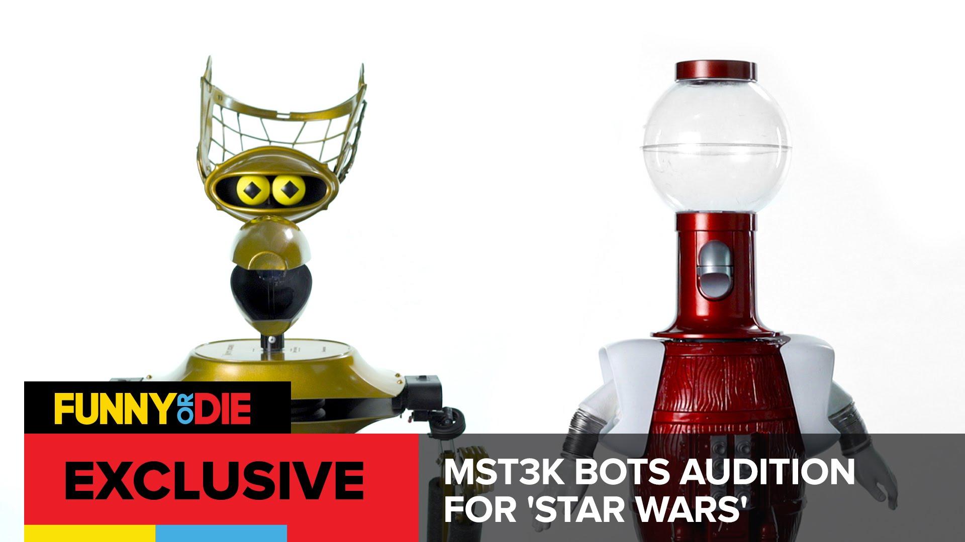 """Tom Servo und Crow T. Robot aus """"Mystery Science Theatre 3000"""" wollen gerne R2D2 und C3PO in """"Star Wars"""" spielen"""