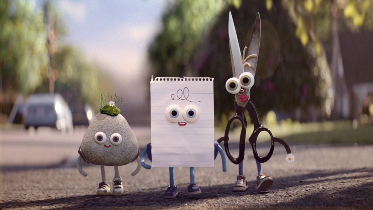 In einem Spot für Android werden Stein, Schere und Papier endlich Freunde