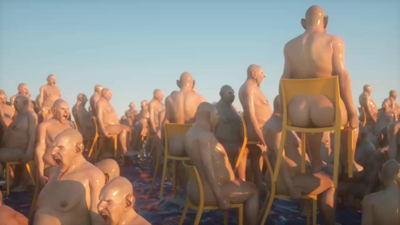 Schreiende, nackte Männer auf Stühlen drehend im Meer