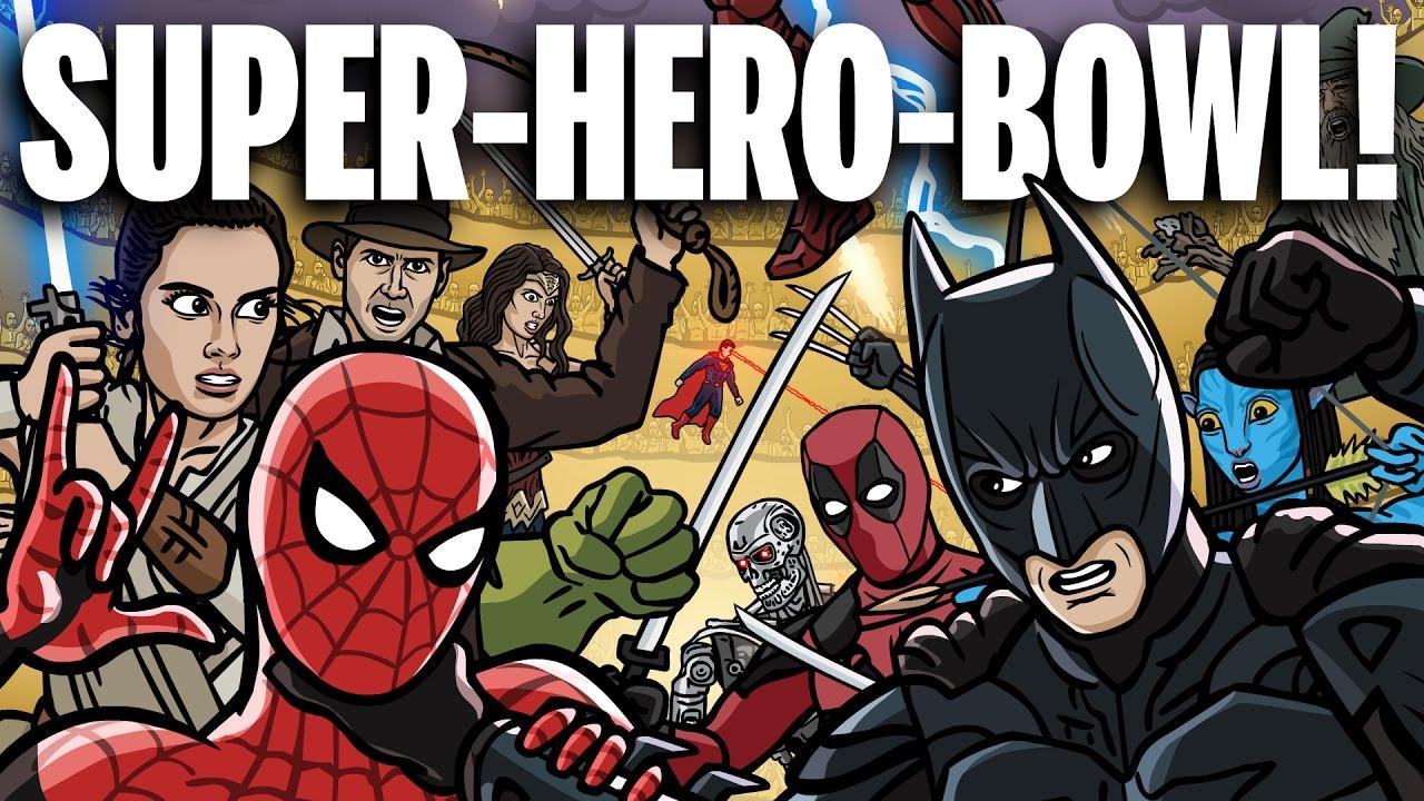 """Im """"Super-Hero-Bowl"""" treten über 100 Superhelden und Filmfiguren gegen einander an! Es ist ein Gemetzel!"""