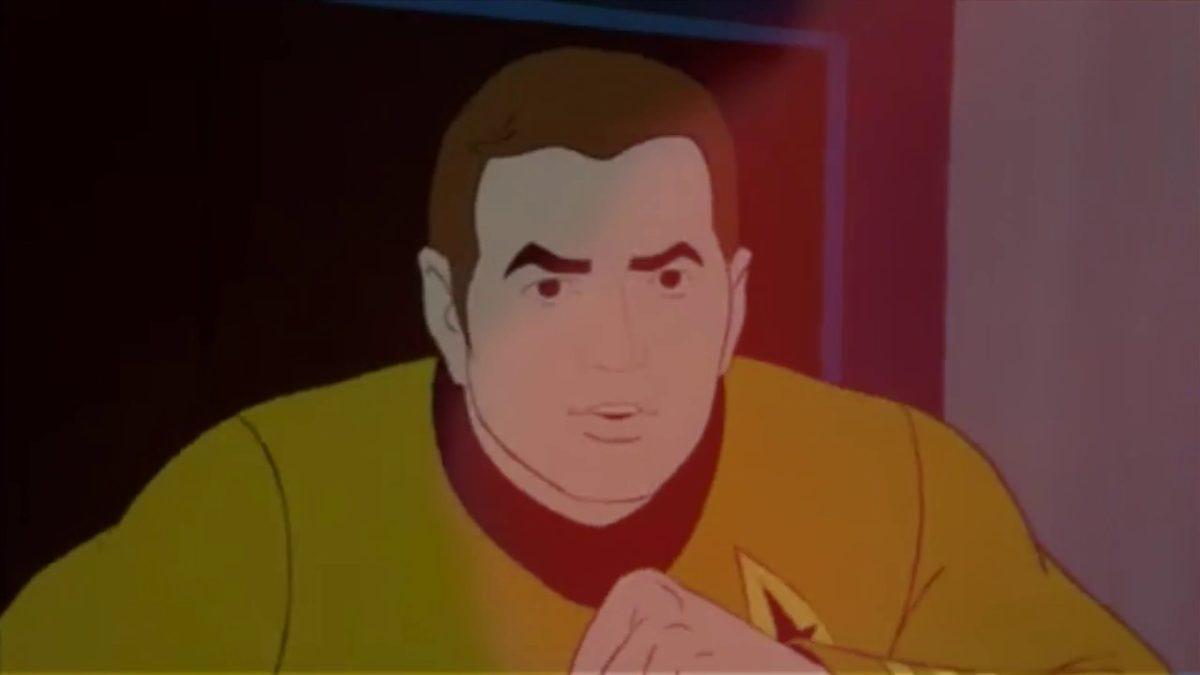 Die Crew der animierten Enterprise rapt über ihr Abendessen und Kirks schreckliche Wahl