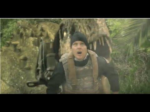 """Im B-Movie-Trailer zu """"Jurassic Thunder"""" wird ein T-Rex zur Waffe gegen Zombies…?"""