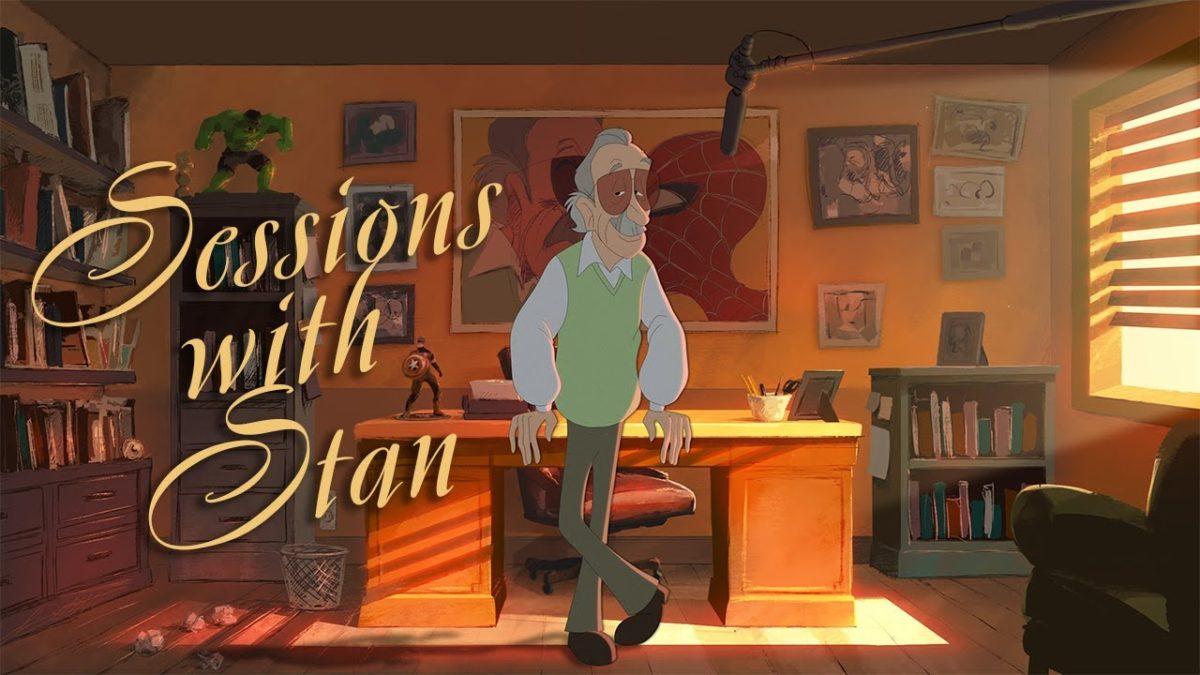 Stan Lee in einem animierten Vortrag über profane Sprache